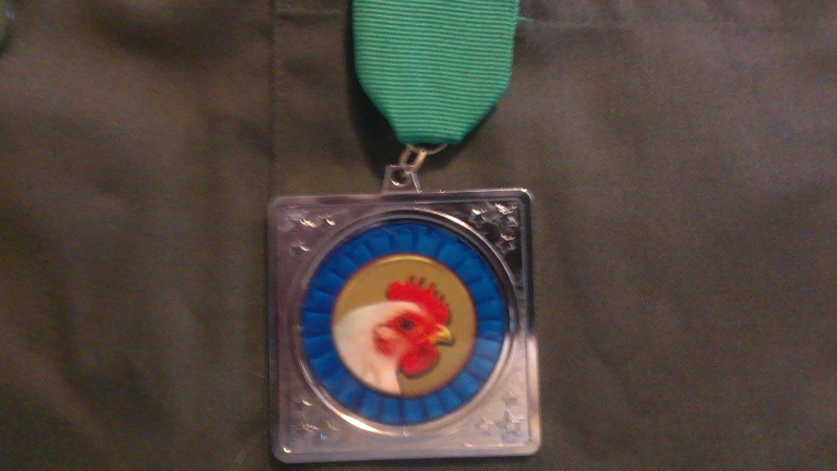 """Silver Chicken Medal ""  for honorable service of free-range poultry."